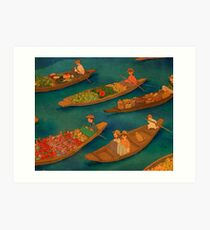 Floating market, Damnoen Saduak, Thailand Art Print