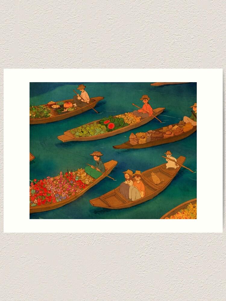 Alternate view of Floating market, Damnoen Saduak, Thailand Art Print