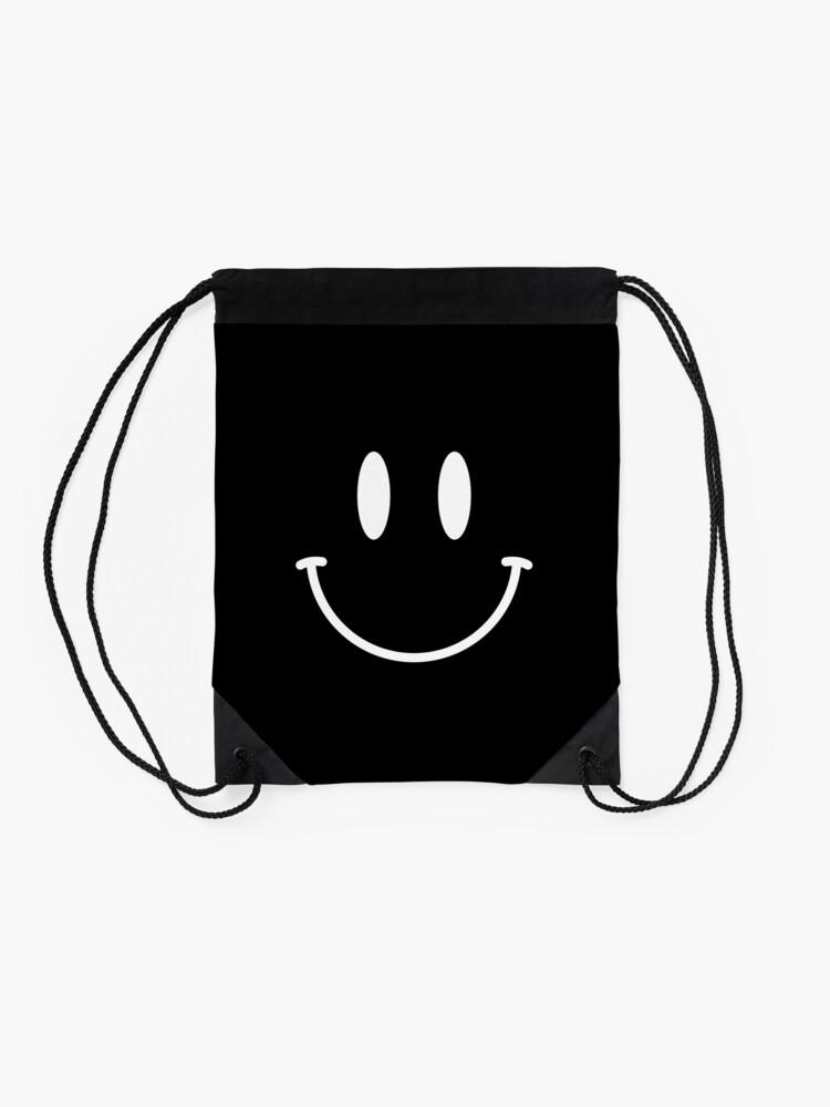 Alternate view of Acid House Smiley Face - Simple (dark) Drawstring Bag