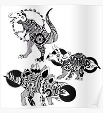 Dinosaur Trio (T-Rex, Triceratops, Stegosaurus) Poster