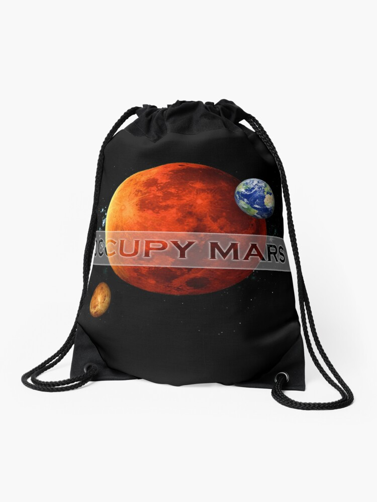 Drawstring Backpack Astronaut Space Mars Bags