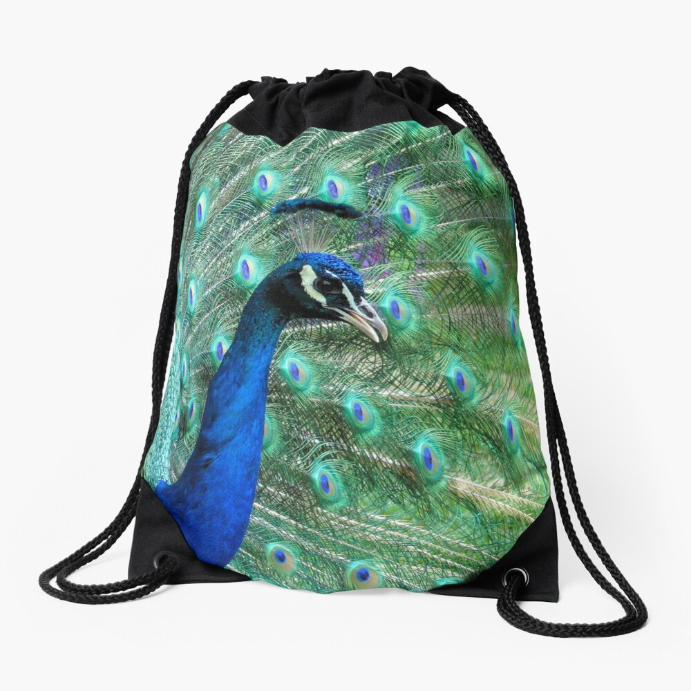 Peacock in bloom Drawstring Bag