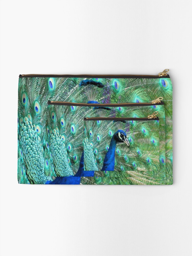 Alternate view of Peacock in bloom Zipper Pouch