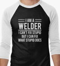 Funny Welder I Can't Fix Stupid Sarcasm T-shirt Men's Baseball ¾ T-Shirt