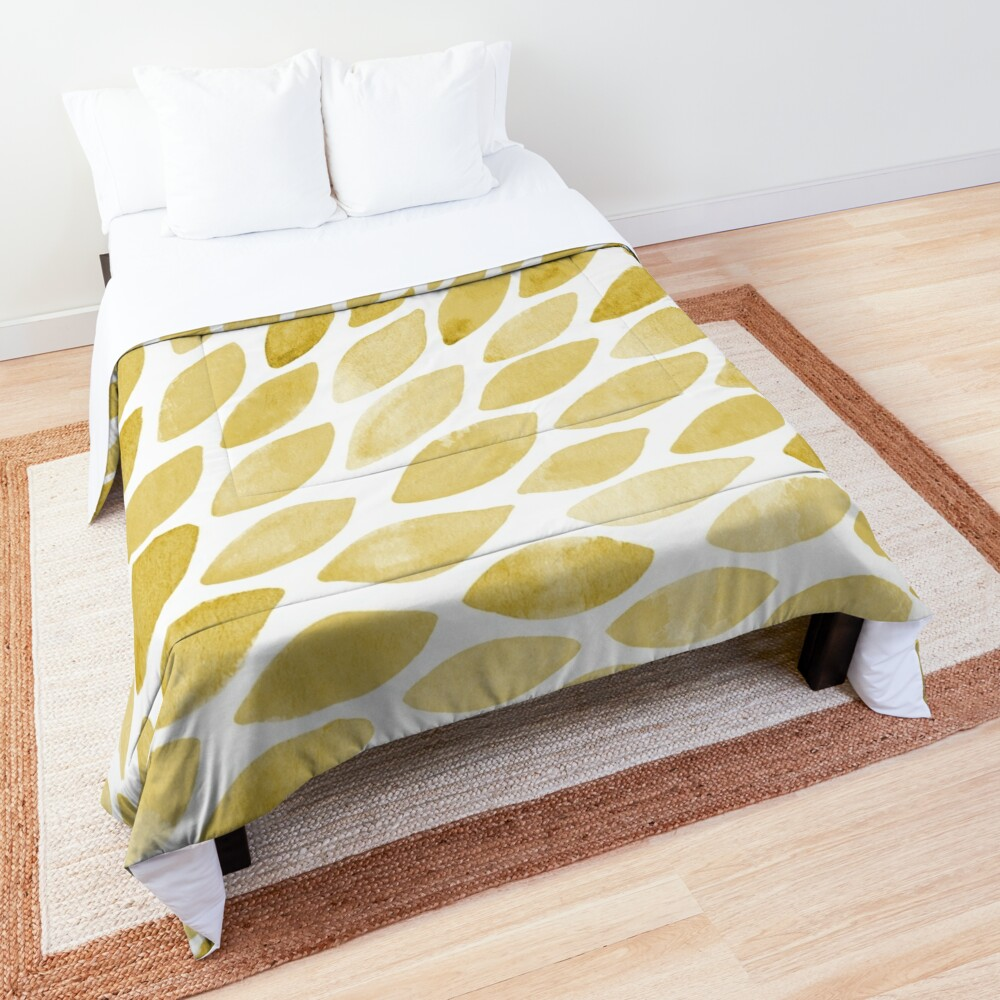 Watercolor brush strokes - yellow Comforter