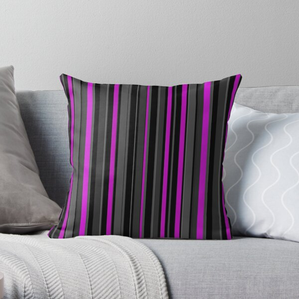 Grey pink stripes vertical Throw Pillow