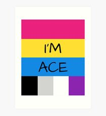 Panromantic Flag Asexual Flag Asexual I'm Ace T-Shirt Art Print