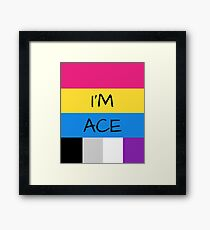 Panromantic Flag Asexual Flag Asexual I'm Ace T-Shirt Framed Print