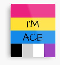 Panromantic Flag Asexual Flag Asexual I'm Ace T-Shirt Metal Print