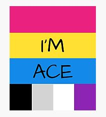 Panromantic Flag Asexual Flag Asexual I'm Ace T-Shirt Photographic Print