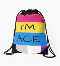 Panromantic Flag Asexual Flag Asexual I'm Ace T-Shirt Drawstring Bag