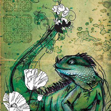 Green Iguana- Mixed Media by Narelle