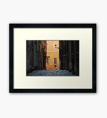 Orange Wall in a Roman Streetscape Framed Print