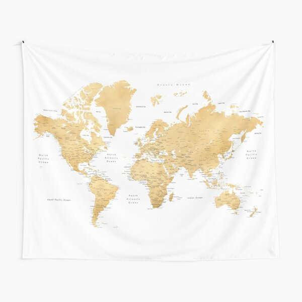 Gold color world map with cities Tapestry