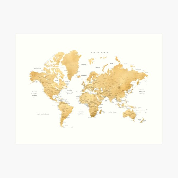 Gold color world map with cities Art Print