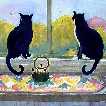 Tuxedo cats Jake and Elwood Watercolor by Naquaiya