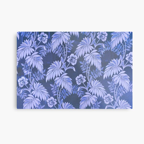 Tropical Forest - Flowers and Leaves - Blue Metal Print