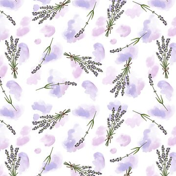 Watercolour Lavender - repeat floral pattern by HazelFisher