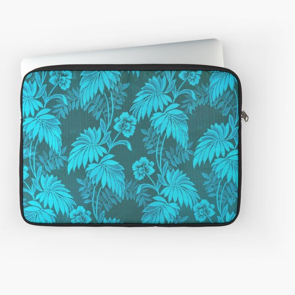 Tropical Forest - Flowers and Leaves - Teal Laptop Sleeve