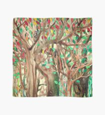 Walking through the Forest - watercolor painting collage Scarf