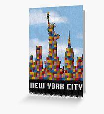 Statue of Liberty New York City Skyline Made With Lego Like Blocks Greeting Card