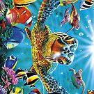 Animal Cartoon Art Illustrations, Colorful Sea Turtle by Melody Koert