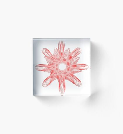 Spirals with Red and White Acrylic Block