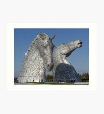 amazing Kelpies in the Helix Park, Falkirk , Scotland. Art Print