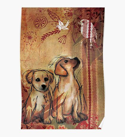 Two Puppies- Mixed Media Poster