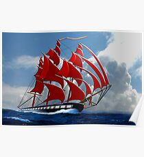 The Clipper Ship Indian Queen Races for Home Poster