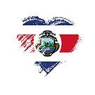 Grungy I Love Costa Rica Heart Flag by stíobhart matulevicz
