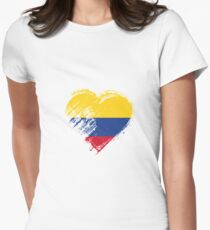 Grungy I Love Colombia Heart Flag Women's Fitted T-Shirt