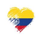 Grungy I Love Colombia Heart Flag by stíobhart matulevicz