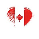 Grungy I Love Canada Heart Flag by stíobhart matulevicz