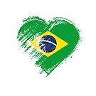 Grungy I Love Brasil Heart Flag by stíobhart matulevicz