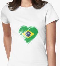 Grungy I Love Brasil Heart Flag Women's Fitted T-Shirt