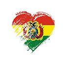 Grungy I Love Bolivia Heart Flag by stíobhart matulevicz
