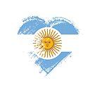 Grungy I Love Argentina Heart Flag by stíobhart matulevicz