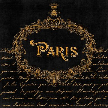 Paris in Gold Typography French Sentiment Art by Glimmersmith