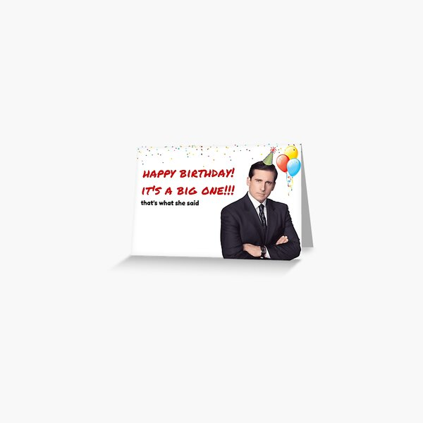 Office Us birthday card, Michael Scott birthday card, Quotes, Gifts, Presents, Ideas, Good vibes, Cool, Colors, Culture, That's what she said Greeting Card