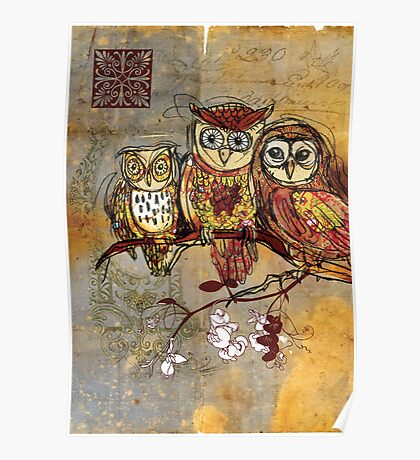 Patchwork Owls- Mixed Media Poster