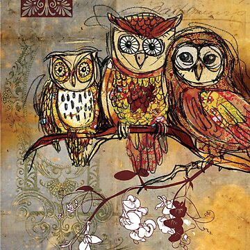 Patchwork Owls- Mixed Media by Narelle