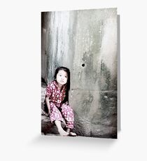 The Girl in the Red Pyjamas Dreams against a Stone Wall Greeting Card
