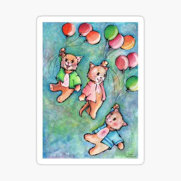 Balloons and flying cats! Sticker