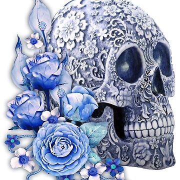 Unique Cool Blue Floral Blue Flowers Skull by Atteestude