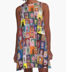 Les Faces à flaques (murale entière) Robe trapèze