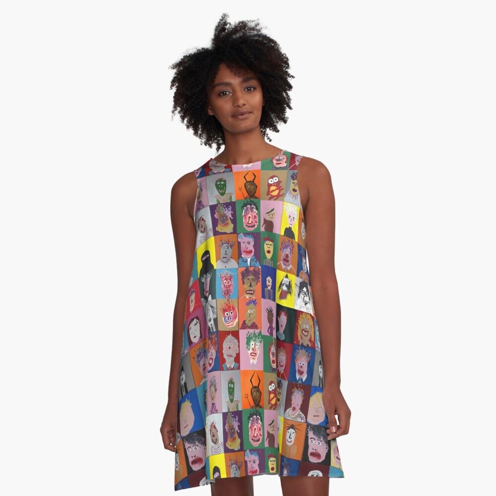 Devant Robe trapèze ''Les Faces à flaques (murale entière)'