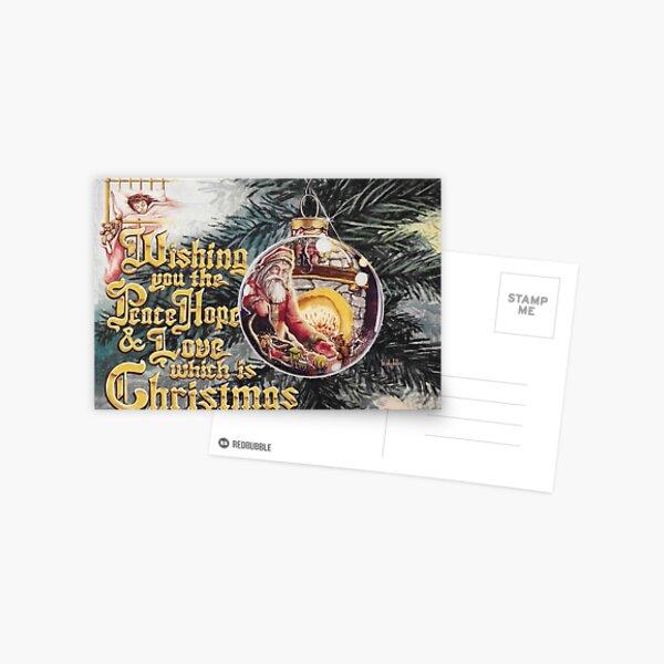 Santa reflection in Christmas tree ornament Greeting Card Postcard