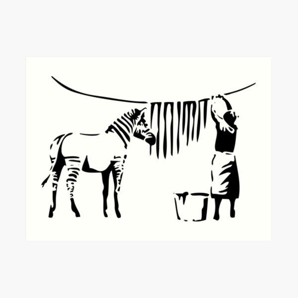 Banksy, A Woman Washing Zebra Stripes Artwork Reproduction, Posters, Tshirts, Prints Art Print