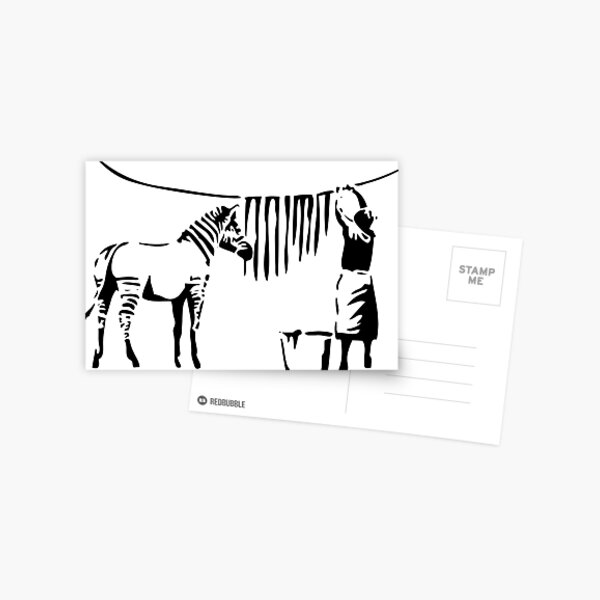 Banksy, A Woman Washing Zebra Stripes Artwork Reproduction, Posters, Tshirts, Prints Postcard